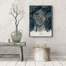 Picture of a wooden bench with a framed art print on the wall