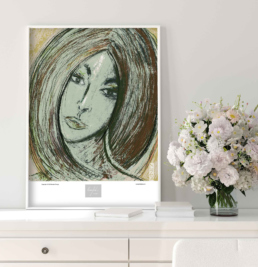 Picture of a living room cabinet with flowers and a framed art print on top