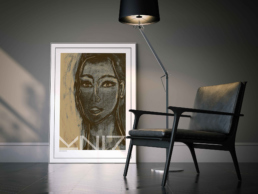 Picture of a dark living room interior with a large framed art poster