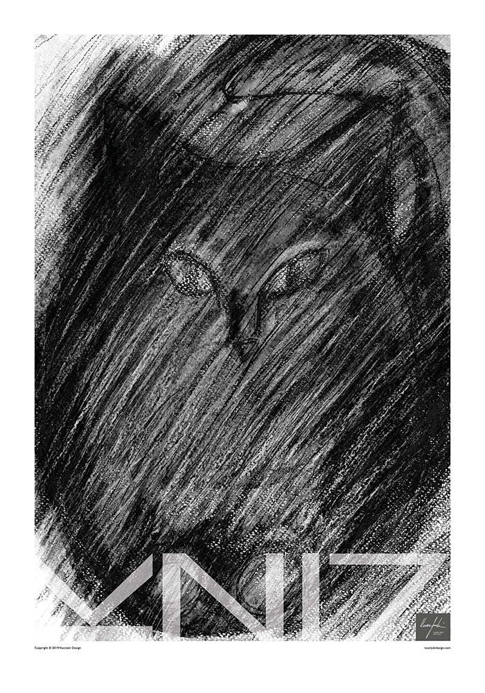 Picture of a 70x100 art print B35 Raincat by Vuorjoki Design