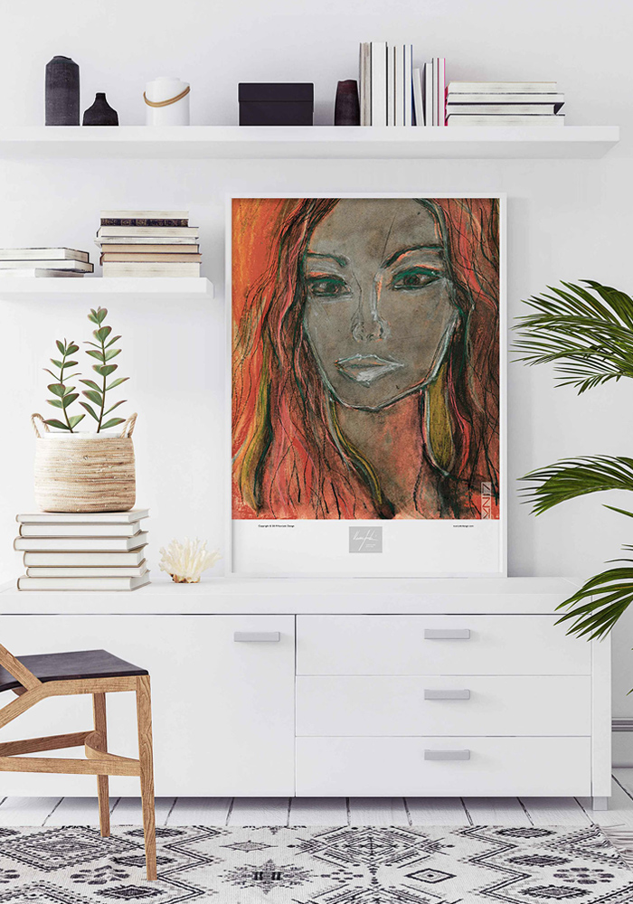 Picture of a white living room with a framed art print on top of a white cabinet