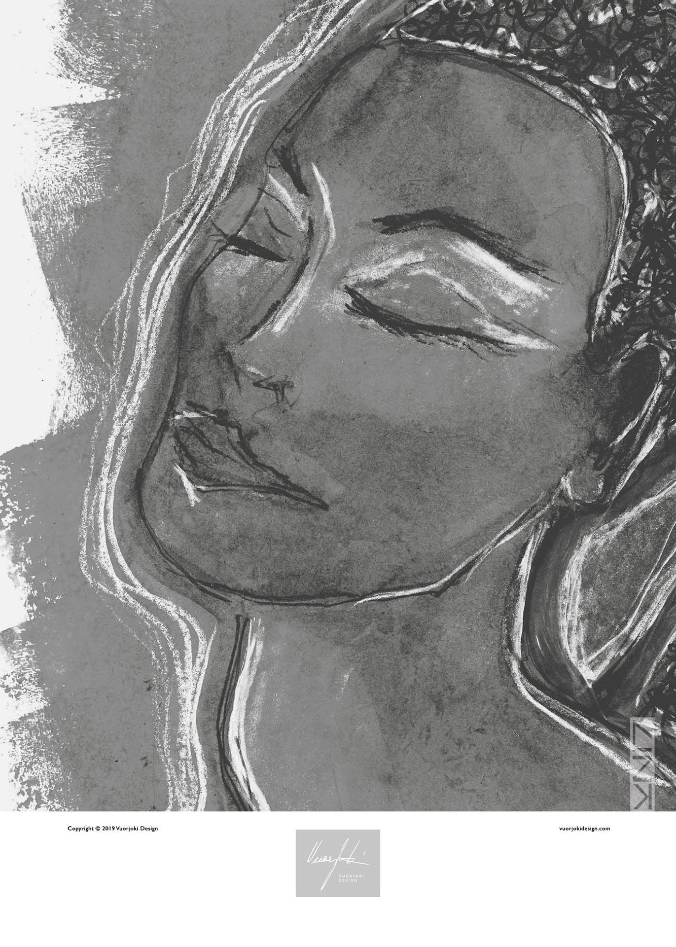 A greyscale portrait art print of a woman with her eyes closed and a logo underneath.
