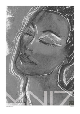 A greyscale portrait art print of a woman with her eyes closed, with a large text logo covering the bottom.
