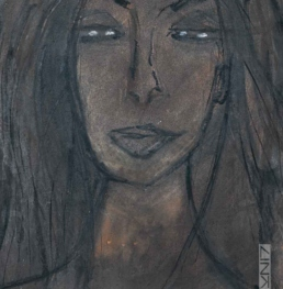 Picture of an artwork portraying a dark-haired woman with eyes half closed