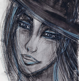 Picture of an artwork portraying a woman with a bowler hat