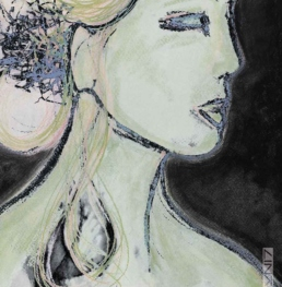 Picture of an artwork portraying a profile of a woman with her eyes closed