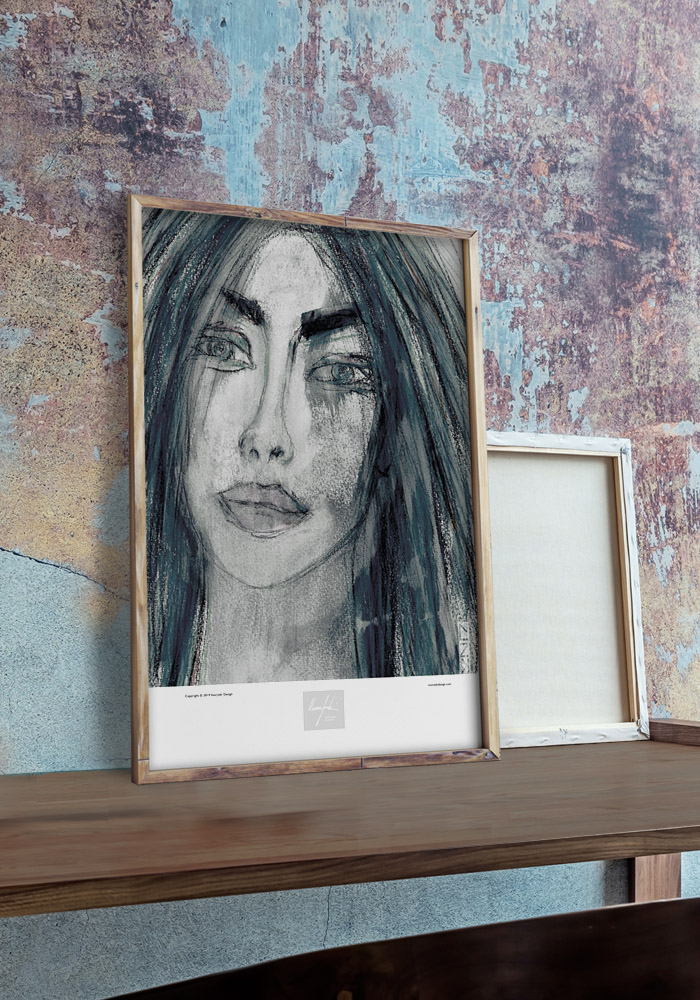 Framed art print portraying a bluish color lady with a colorful concrete wall in the back