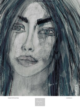 Bluish portrait art print of a woman having intense eyes and full lips.
