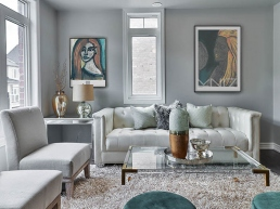 Luxurious living room with art prints on the wall